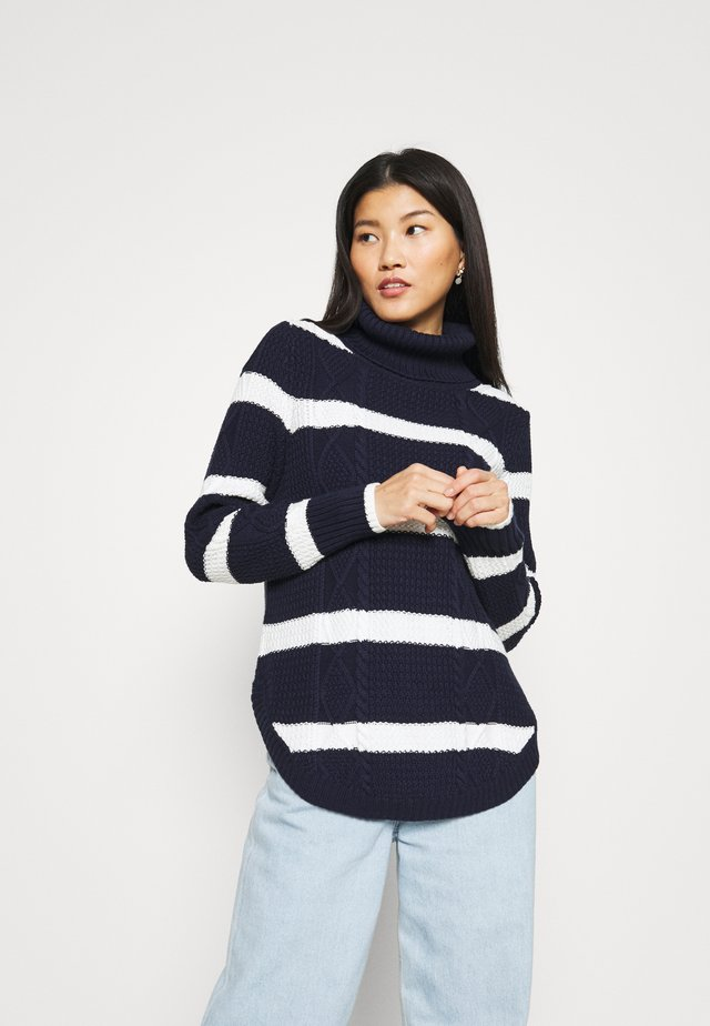CABLE T NECK - Strickpullover - navy/white