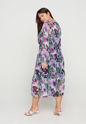 Korte jurk - purple flower mix