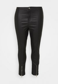 Missguided Plus - SPLIT VICE WITH ZIPS - Trousers - black - 0