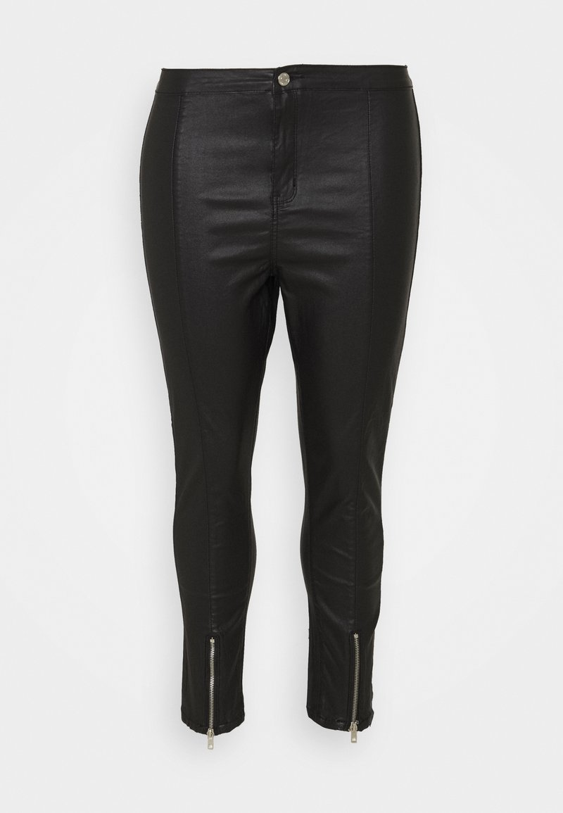 Missguided Plus - SPLIT VICE WITH ZIPS - Trousers - black