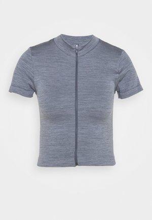 ZIP THROUGH FUNNEL NECK - T-shirts med print - space dye navy