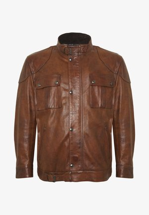 Big & Tall GANGSTER - Leather jacket - cognac
