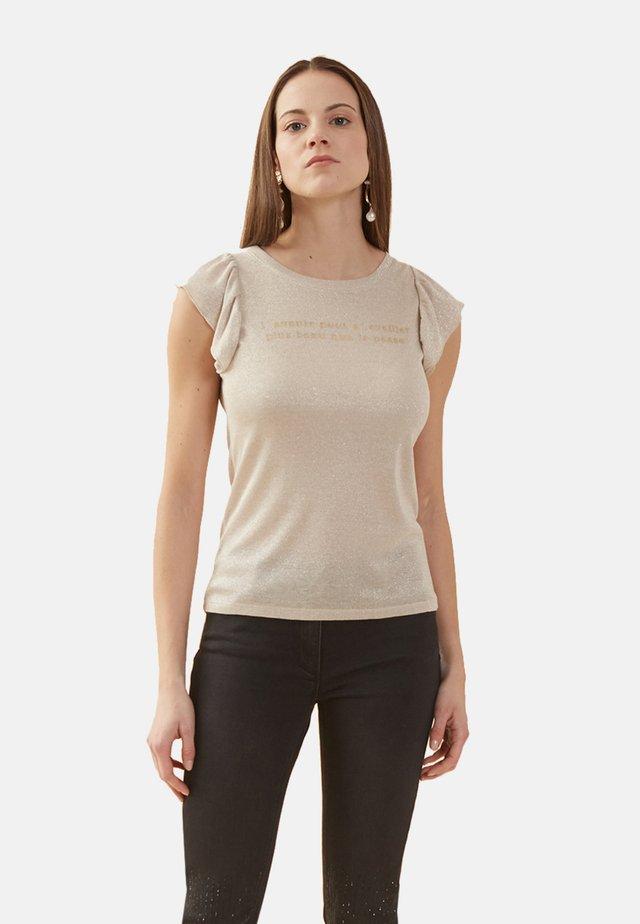 MIT SCHRIFTZUG - Print T-shirt - beige