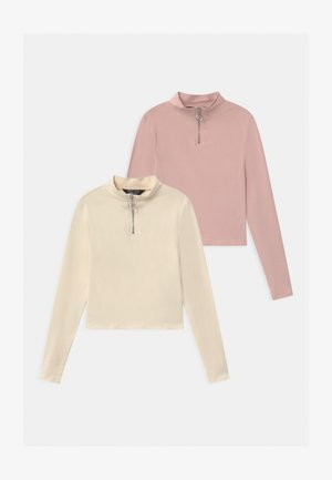 ZIP 2 PACK - Long sleeved top - cream/pink