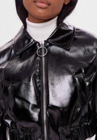 Bershka - VINYL - Leather jacket - black - 3