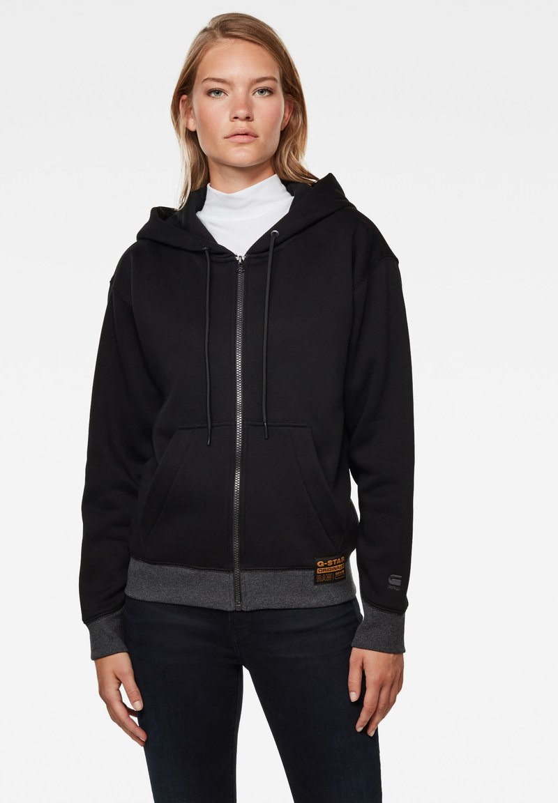 G-Star - PREMIUM CORE HOODED ZIP THRU LONG SLEEVE - Mikina na zip - dk black