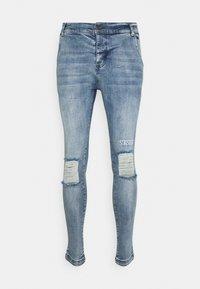 SIKSILK - RAW HEM BURST KNEE - Jeans Skinny Fit - rustic blue wash - 3