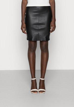 KENDAL  - Leather skirt - black