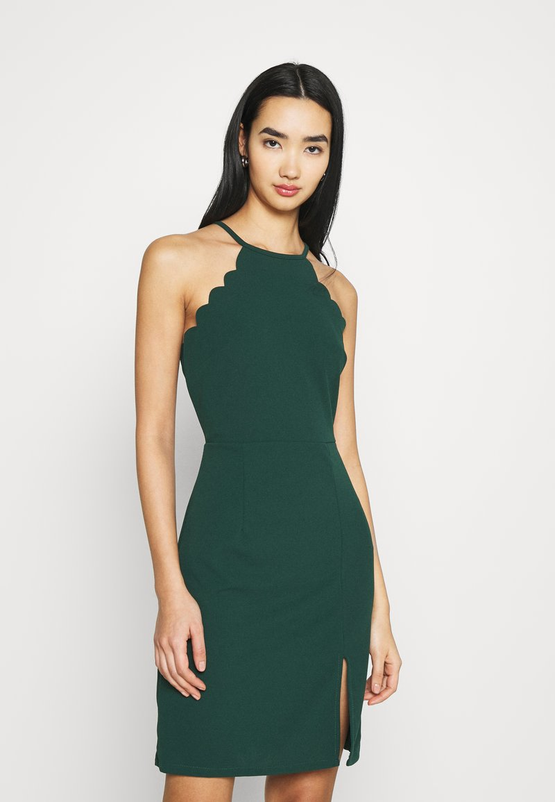 WAL G. - YELDA SCALLOP NECK MINI DRESS - Cocktail dress / Party dress - forest green