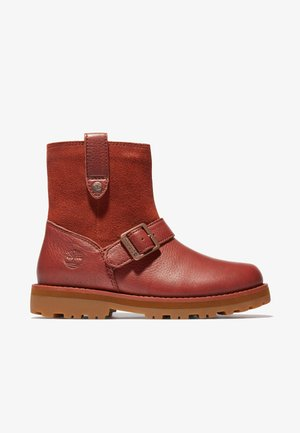 Cowboy/biker ankle boot - cherry mahogany
