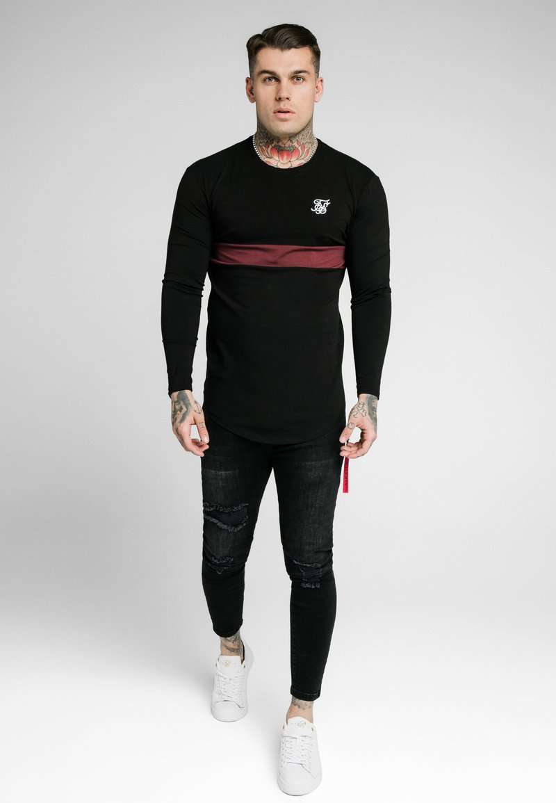 SIKSILK - CUT & SEW TEE - Langarmshirt - black/wine