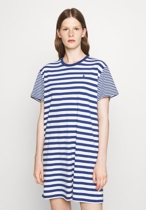 SHORT SLEEVE DAY DRESS - Jersey dress - beach royal/deckwash white