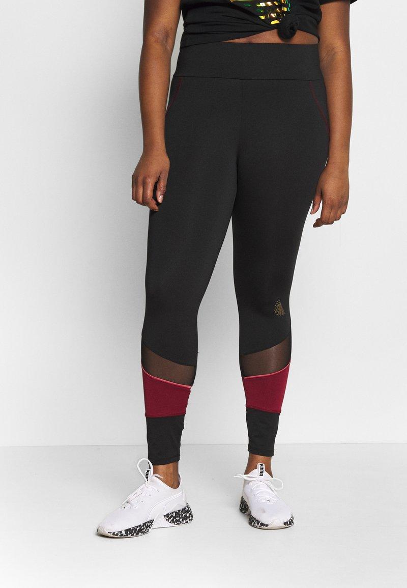 Active by Zizzi - AMONA - Leggings - black/biking red