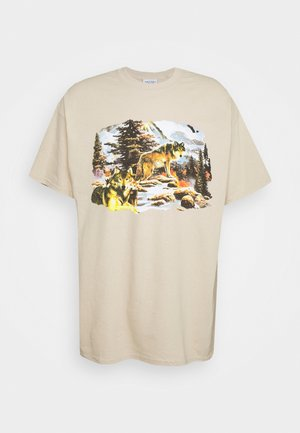 VINTAGE WOLVES GRAPHIC - Print T-shirt - sand