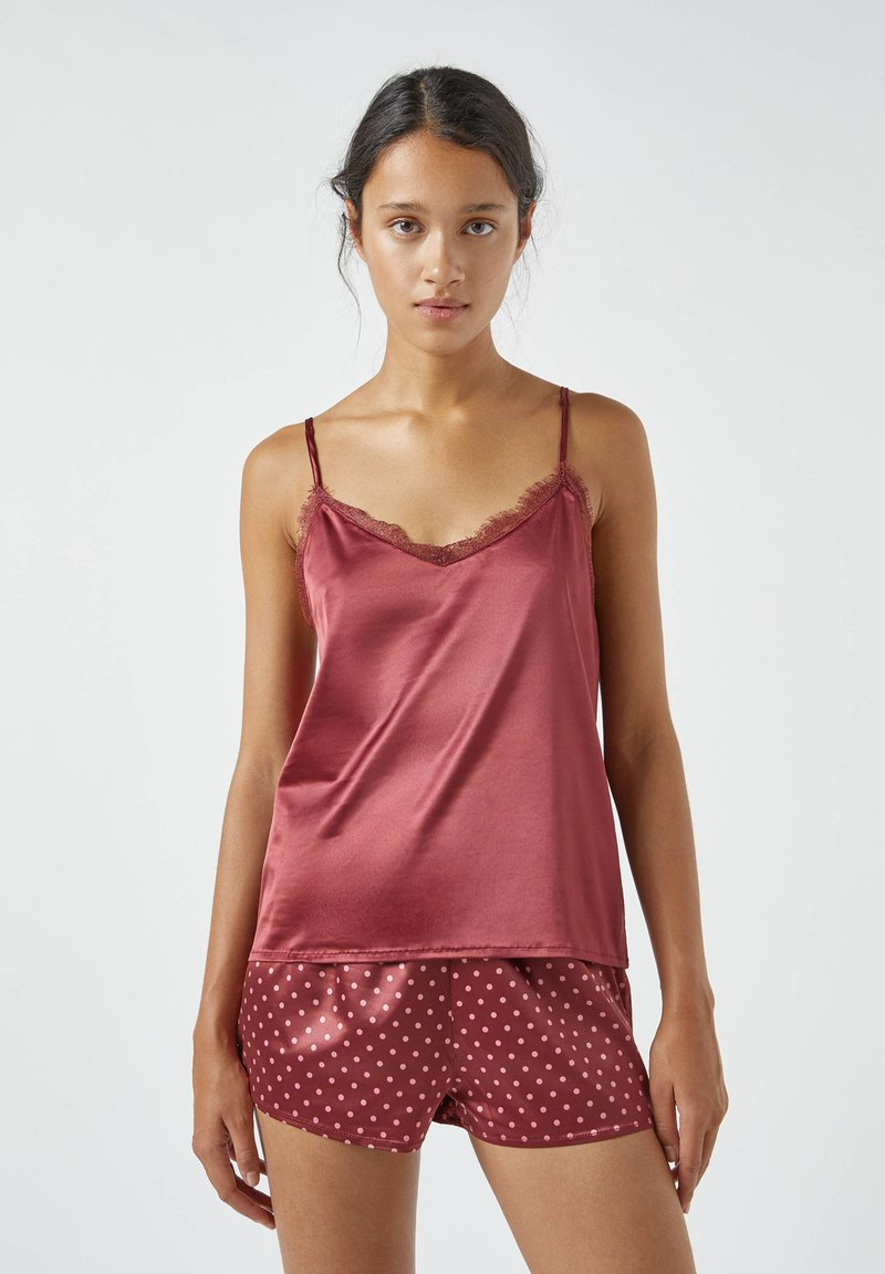 PULL&BEAR - MIT SPITZE - Pyjama top - bordeaux