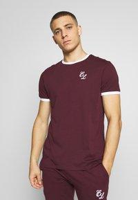 CLOSURE London - SIGNATURE RINGER TEE 3Pack - Basic T-shirt - greymarl/port/navy - 2