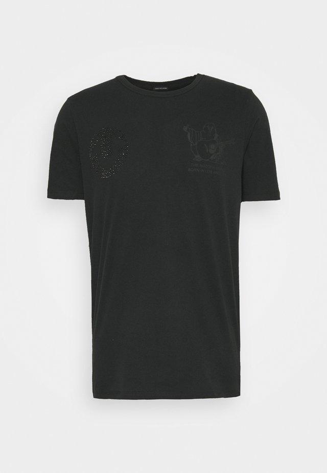 HORSESHOE RHINESTONES - T-shirt imprimé - black