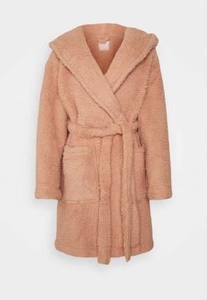 SHORT HOODED GOWN - Dressing gown - camel
