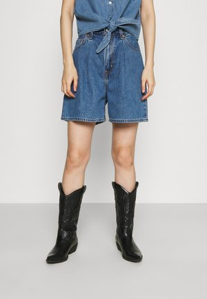 PLEATED - Jeansshort - blue denim
