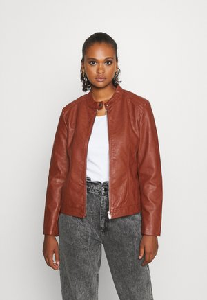 JDYSTORMY - Faux leather jacket - cherry mahogany