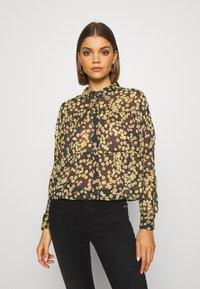 Tommy Jeans - GATHER DETAIL BLOUSE - Button-down blouse - black/yellow - 0