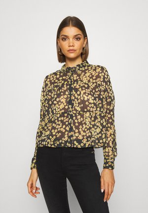 GATHER DETAIL BLOUSE - Button-down blouse - black/yellow