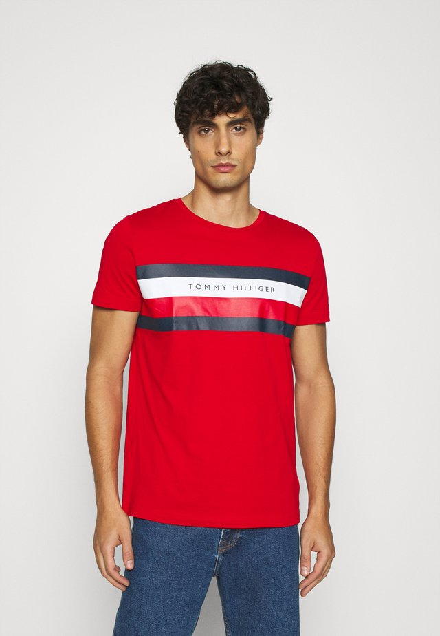 STRIPE TEE - Print T-shirt - red