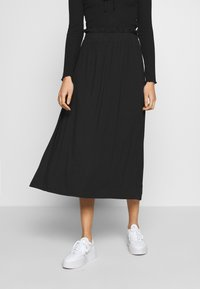 Even&Odd - BASIC - Midi paperbag skirt - A-line skirt - black - 0
