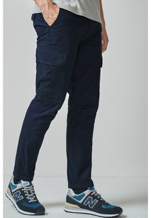 BLACK STRAIGHT FIT PURE COTTON CARGO - Cargo trousers - blue