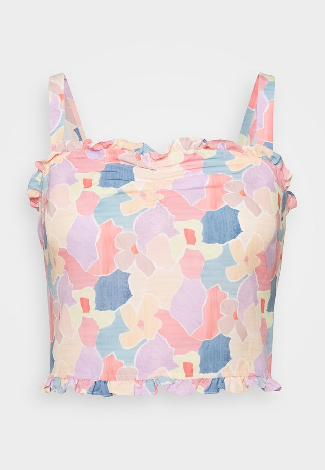 CARE FLORAL PRINTED RUFFLE TRIM CROP TOP - Bluzka - light pink