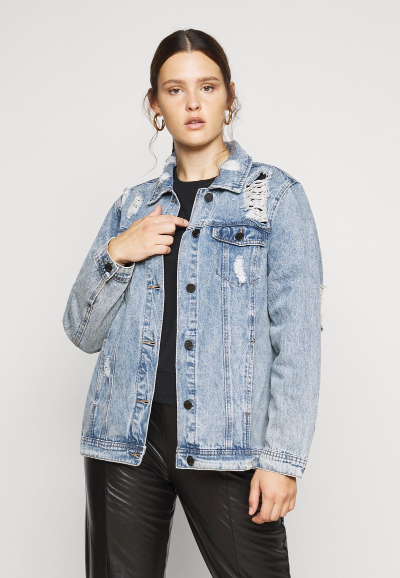 Simply Be - RIPPED OVERSIZED JACKET - Denim jacket - stonewash