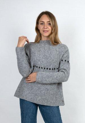 PULLI MIT KREUZSTICHEN - Jumper - light grey