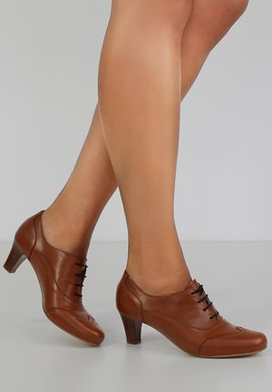 GIUSY - Lace-up heels - cognac