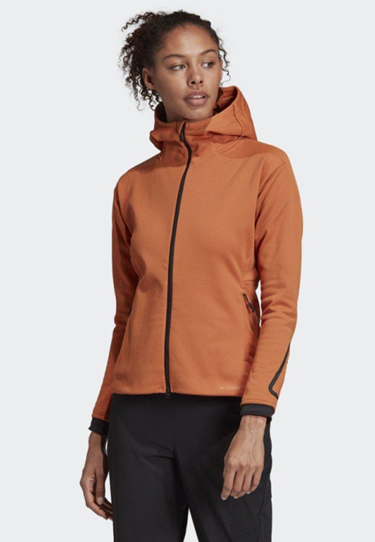 adidas Performance - TERREX CLIMAHEAT HOODED FLEECE - Fleece jacket - brown