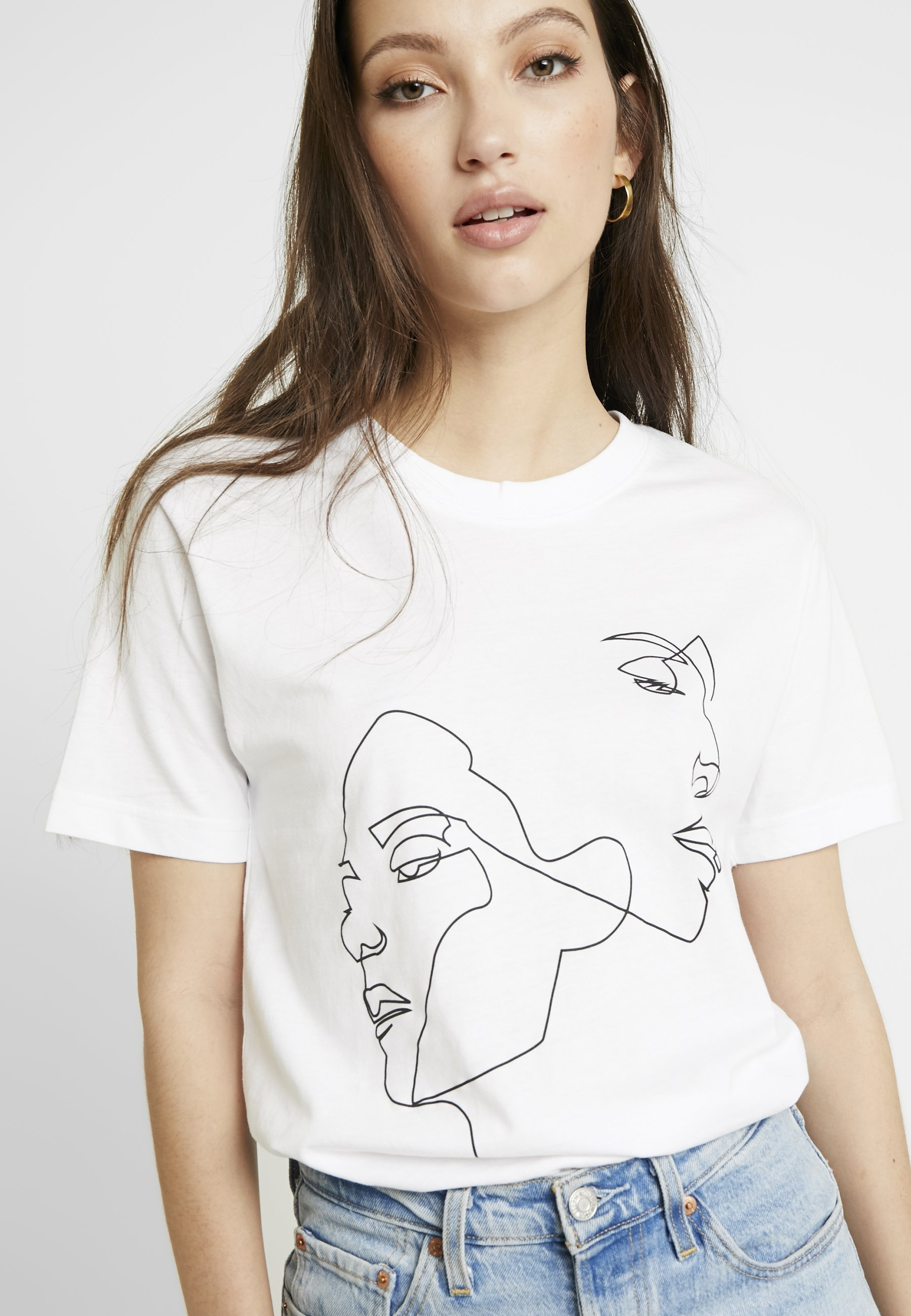 Merchcode LADIES ONE LINE TEE - T-shirts med print - white