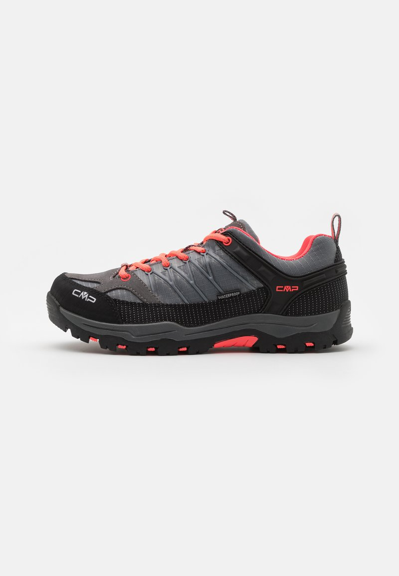 CMP - KIDS RIGEL LOW SHOE WP UNISEX - Hiking shoes - grey/red fluo