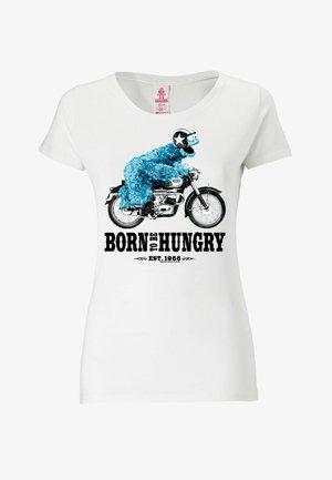 SESAMSTRASSE KRÜMELMONSTER MOTORRAD - Print T-shirt - weiß