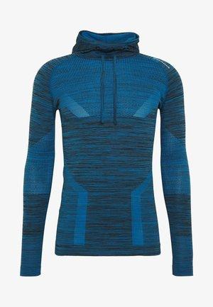KEDERO MELANGE SEAMLESS HOODY - Funkční triko - imperial blue