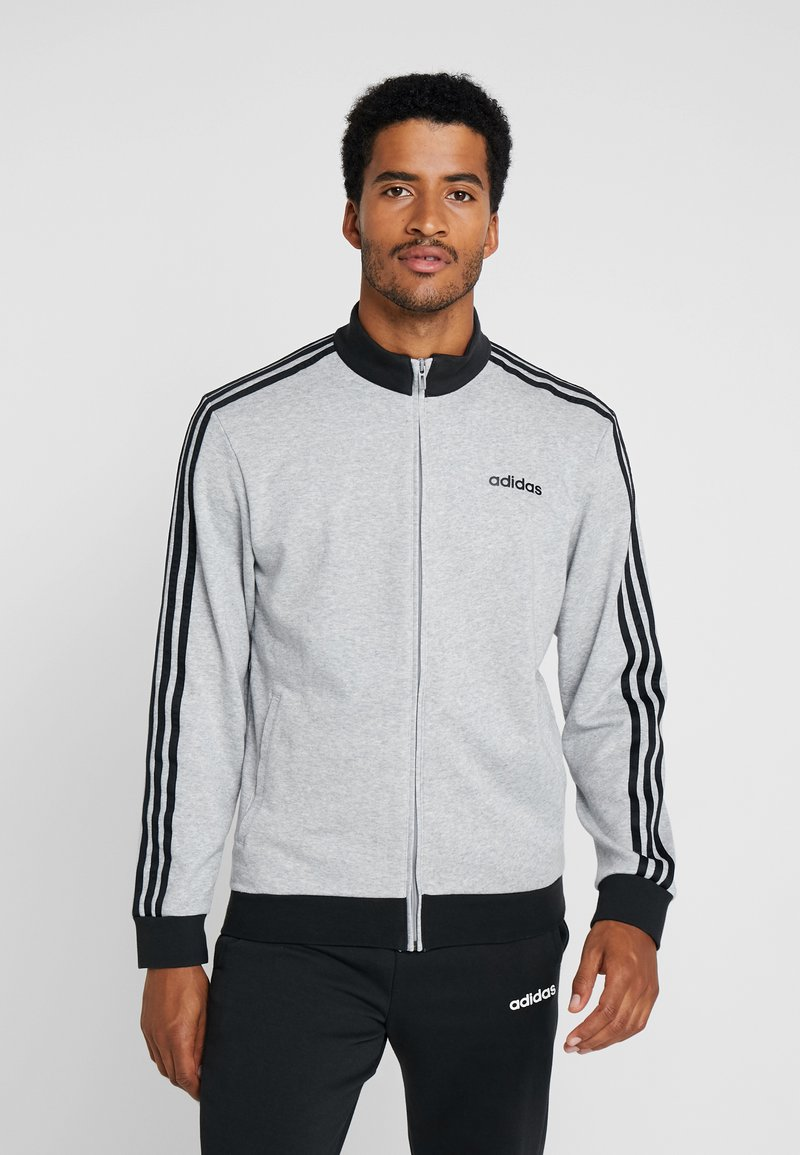 adidas Performance - ESSENTIALS SPORT COTTON TRACKSUIT - Tepláková souprava - medium grey heather/black