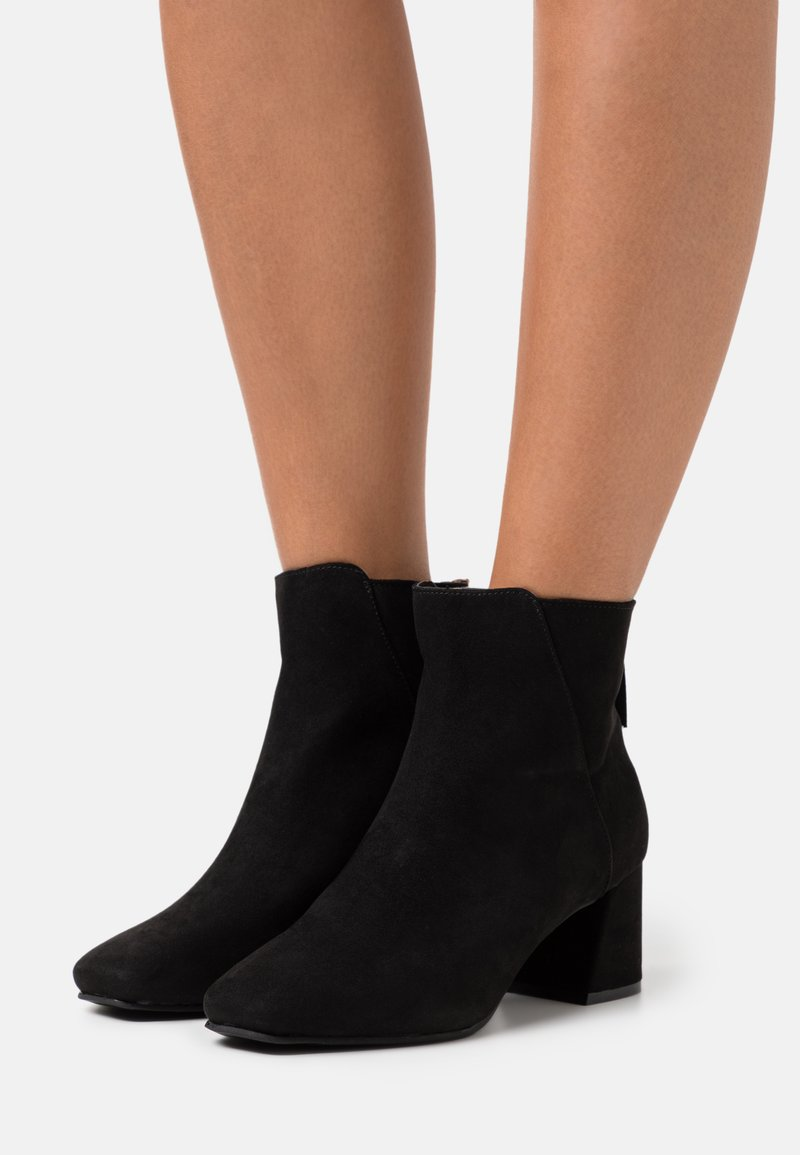 Miss Selfridge Wide Fit - WIDE FIT BRICKS SQUARE TOE FLARED BLOCK HEEL BOOT - Classic ankle boots - black