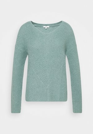 CHUNKY V NECK - Jumper - salvia green melange