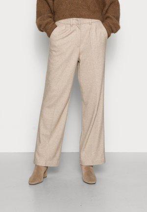 PLEATED PANTS - Straight leg jeans - powder beige melange