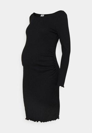 MATERNITY LETTUCE EDGE LONG SLEEVE - Pouzdrové šaty - black