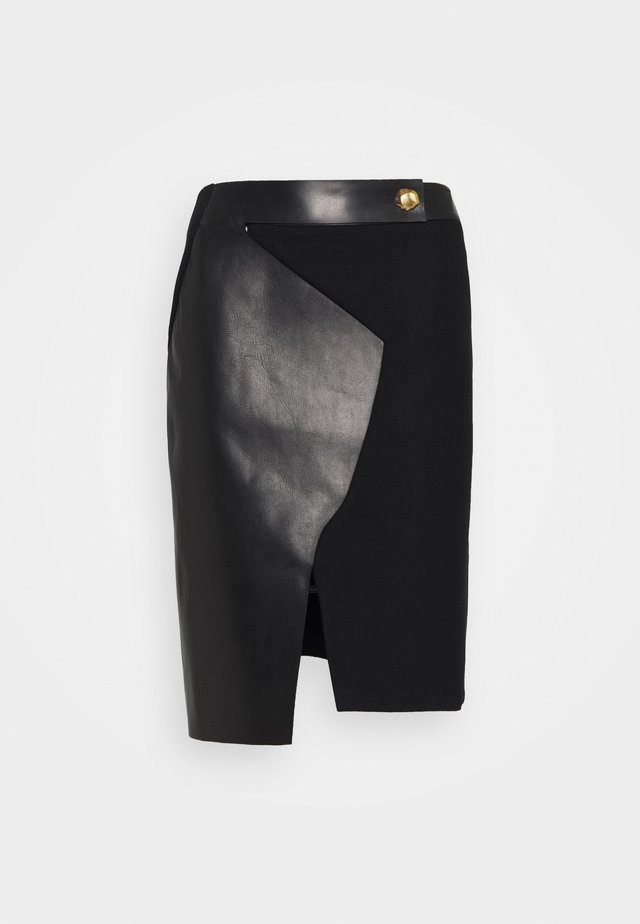 TWO TONE SKIRT - Gonna a tubino - black
