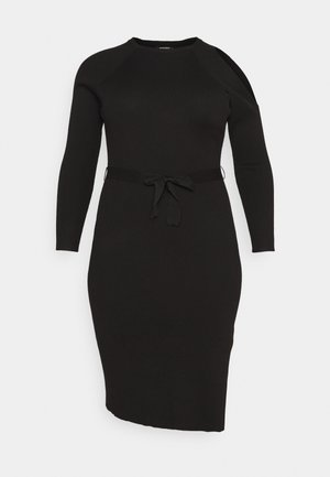 SLOUCHY CUT OUT SHOULDER MIDI DRESS - Denní šaty - black