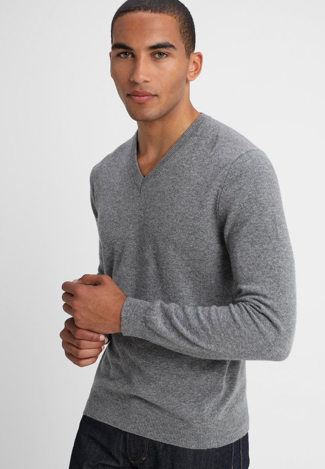 BASIC V NECK - Strikpullover /Striktrøjer - grey