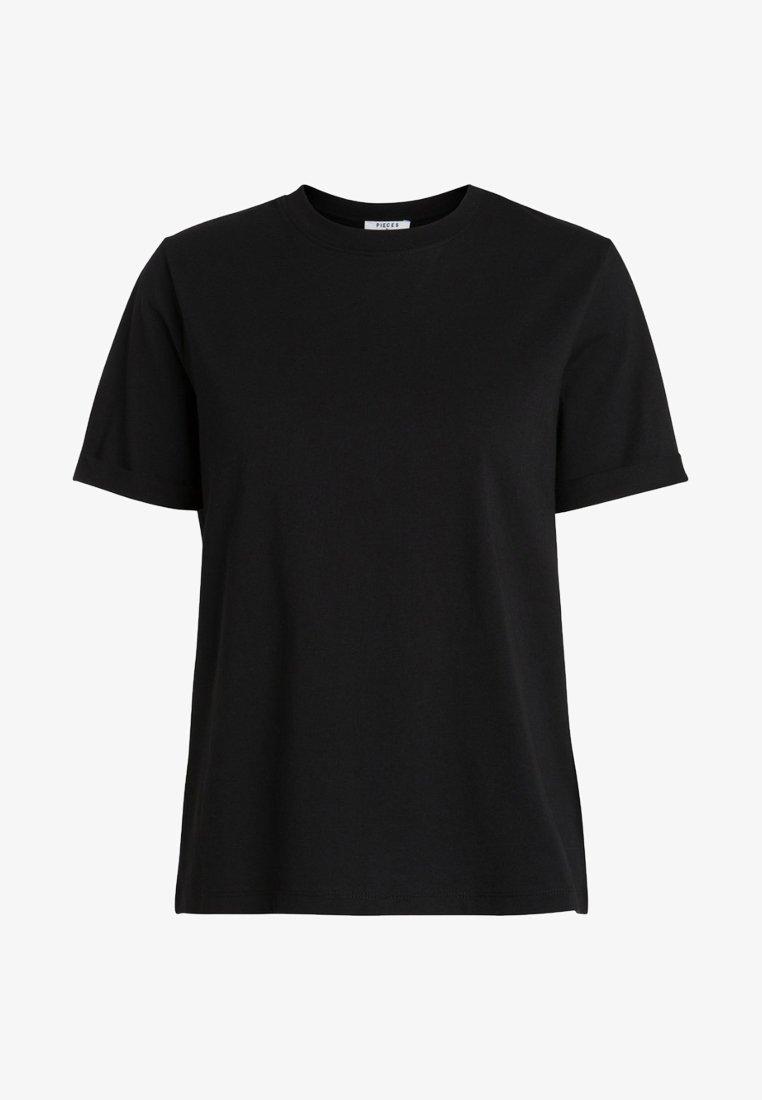 Pieces - PCRIA FOLD UP TEE - Basic T-shirt - black