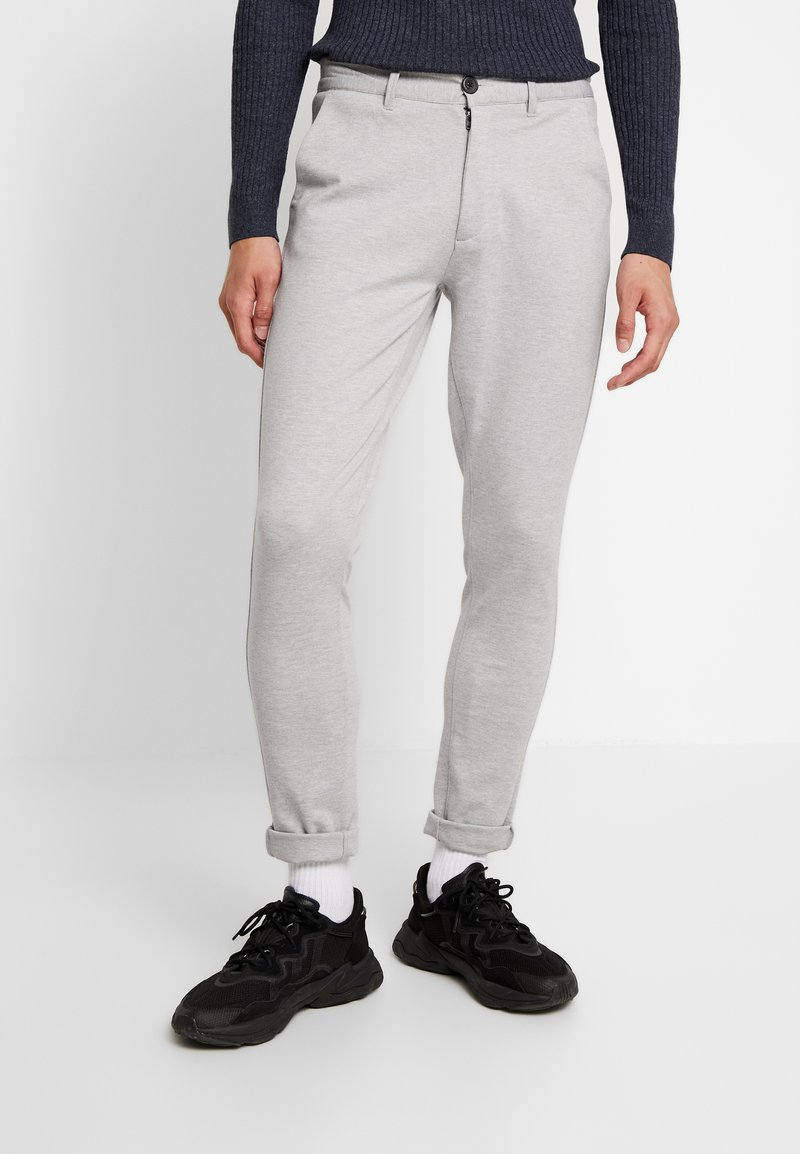 Denim Project - PONTE ROMA PLAIN - Trousers - light grey melange