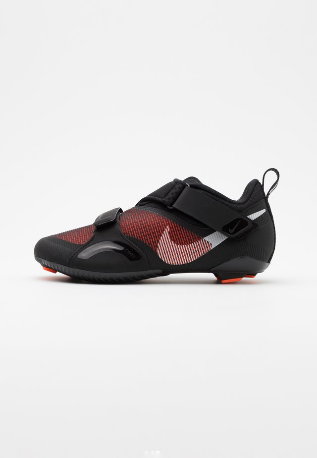 SUPERREP CYCLE - Cycling shoes - black/metallic silver/hyper crimson