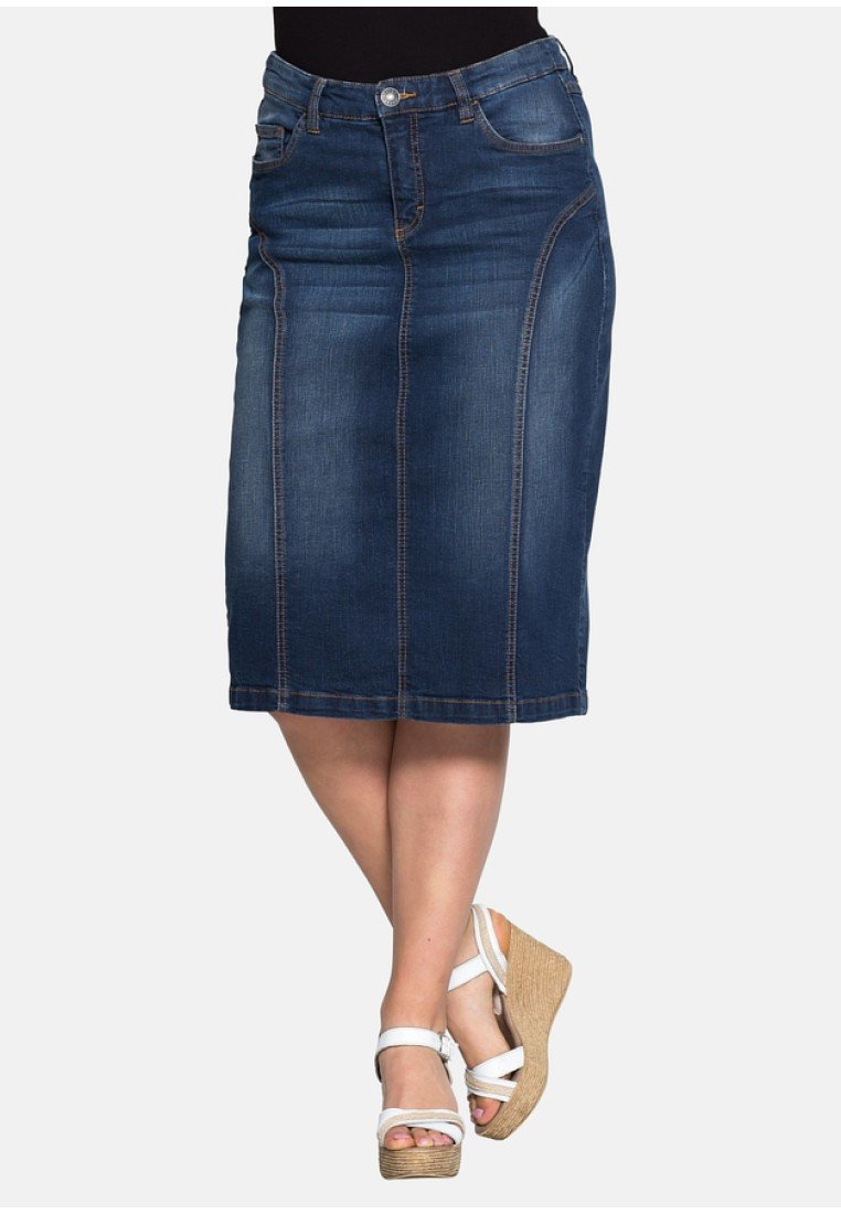 Sheego - Denim skirt - dark blue denim